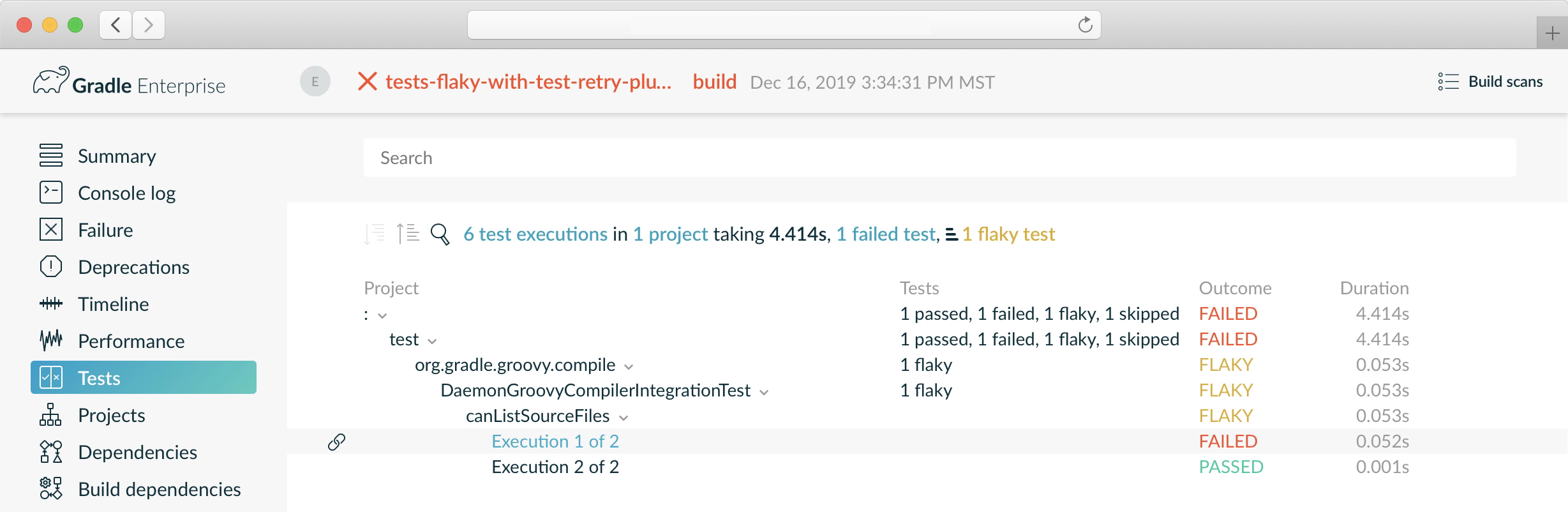 Build scan with flaky tests