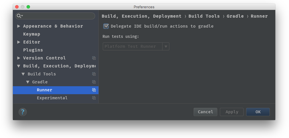 Delegate IDE build/run to Gradle