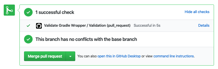 Pull Request Status Check with new 'Validate Gradle Wrapper / Validation' successful status